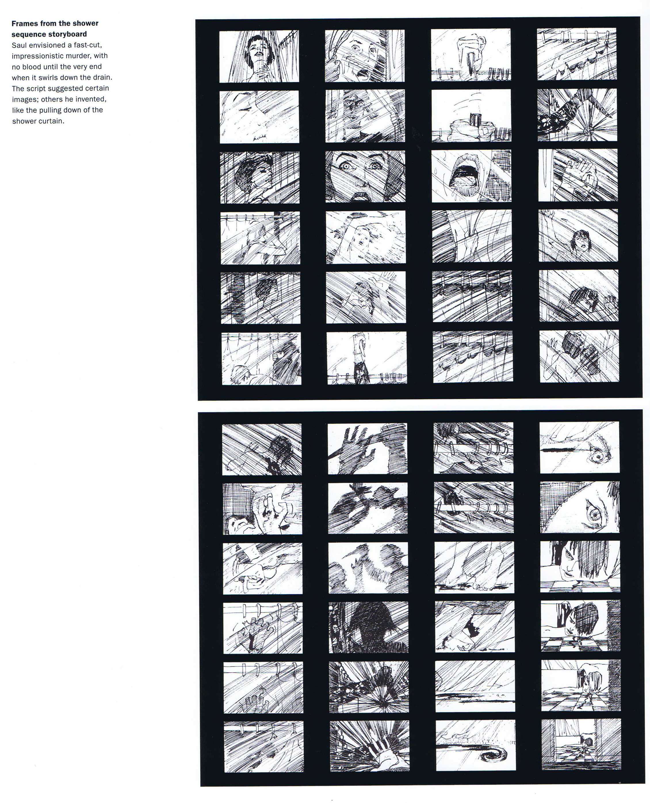 Psycho Shower Curtain With Sound - Saul bass s original storyboards for the famous shower scene in psycho